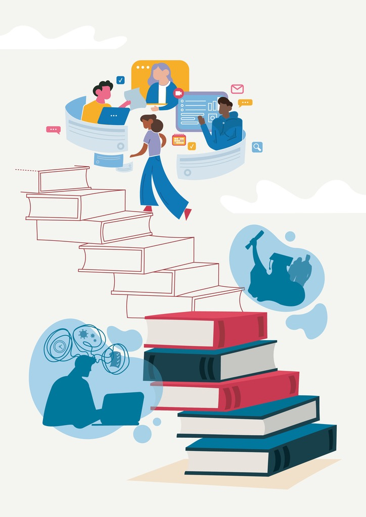 Graphic of books arranged into a staircase. Thought bubbles are around the staircase, with the silhouette of a person on a laptop and a person graduating. At the top of the staircase, three figures are surrounded by symbols of computer apps.