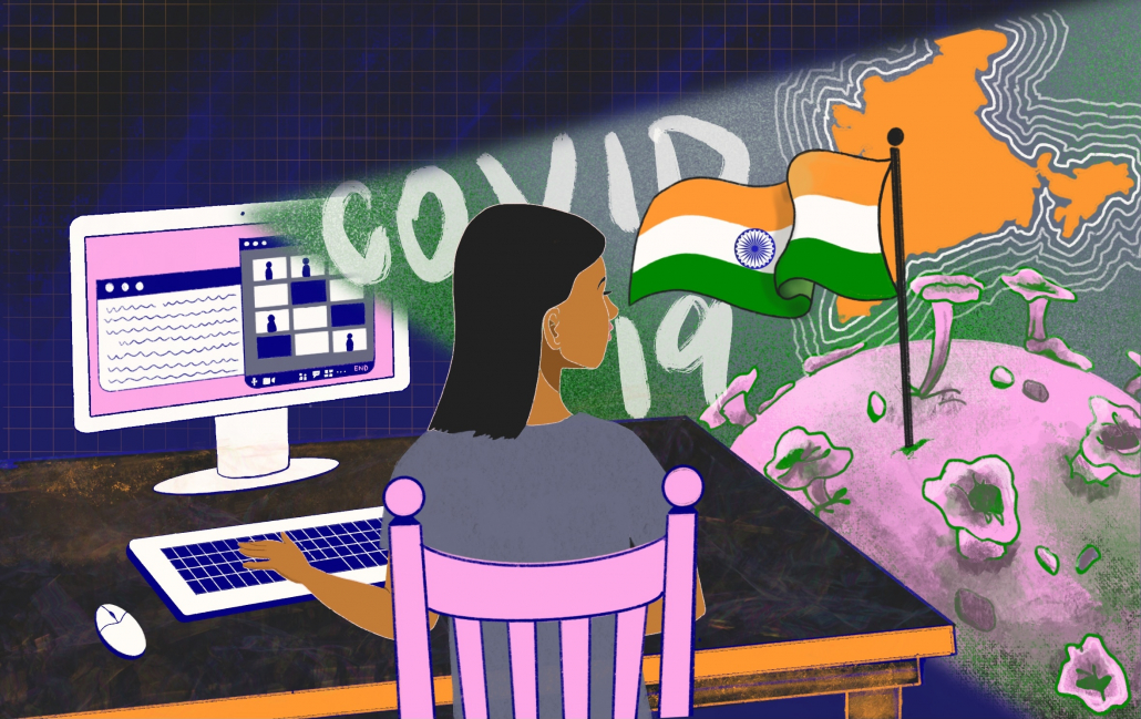 An animation of a girl sitting on a pink chair in front of her desktop, typing on her keyboard. The screen flashes covid 19, flag and map of India and the world globe.