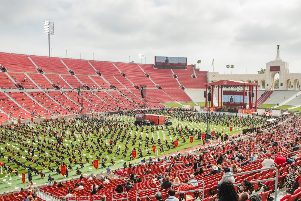 Photo of a USC commencement ceremony at the Los Angeles Memorial Coliseum.