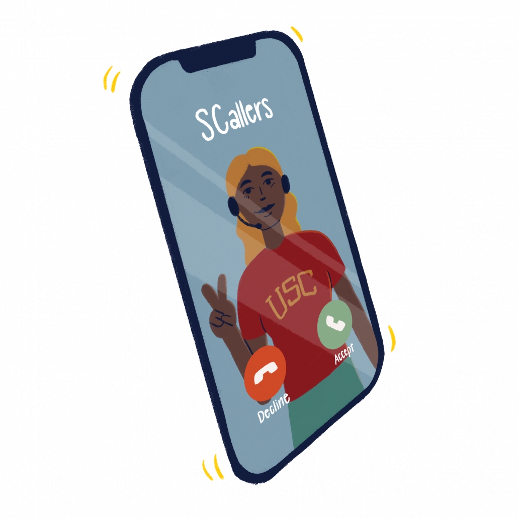 """An art piece of a phone with an incoming call. The caller is """"SCallers"""" and an image of a girl wearing a red usc shirt and throwing the fight on sign appears on the screen."""