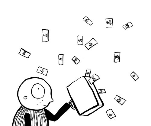 A cartoon of a bald man holding a briefcase with money flying around him.