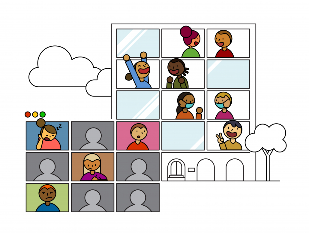 Graphic of people in a Zoom meeting and a building.