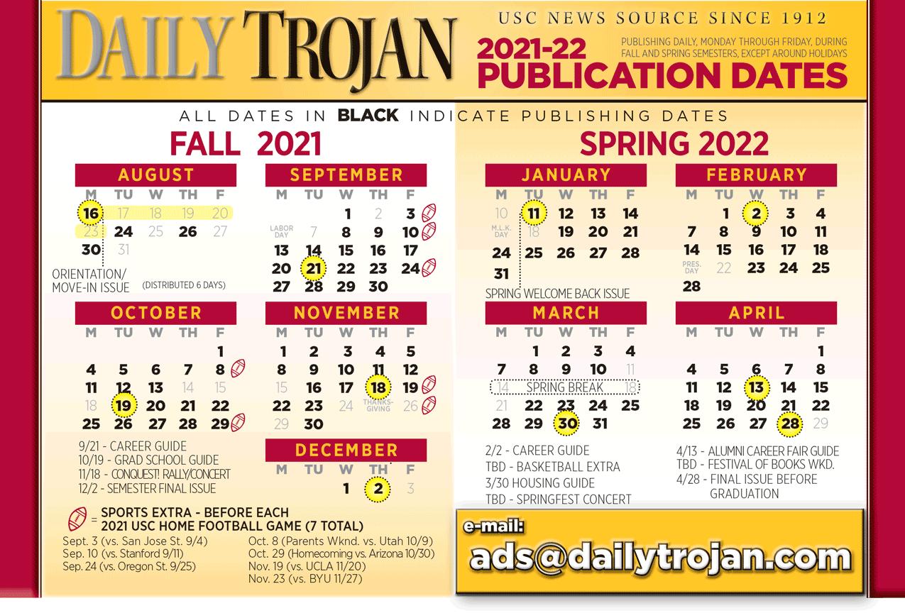 Daily Trojan Publishing Calendar