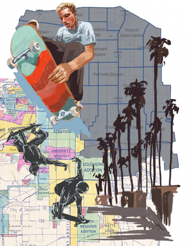 A drawing of a people skateboarding in front of a background of a Los Angeles map.