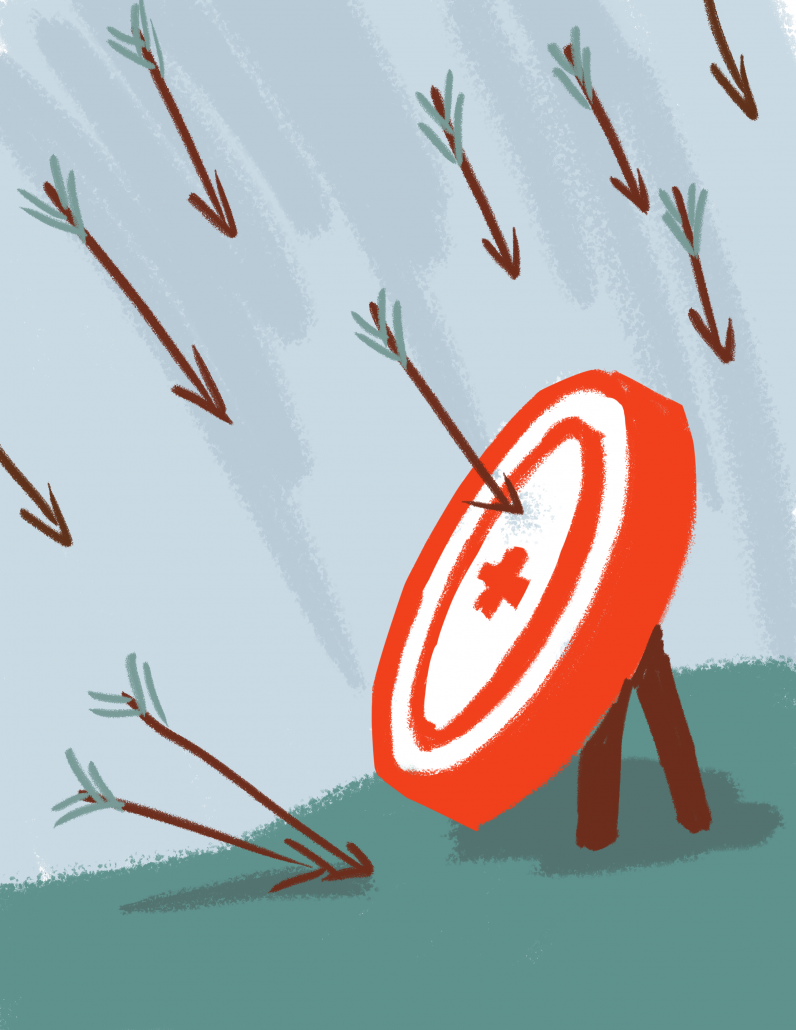 A drawing of a ring target with an arrow missing the bullseye.