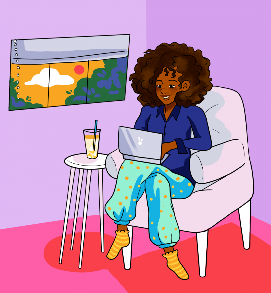A drawing of a person in a chair with their computer on their lap. The person is wearing pajama bottoms and a dress shirt.