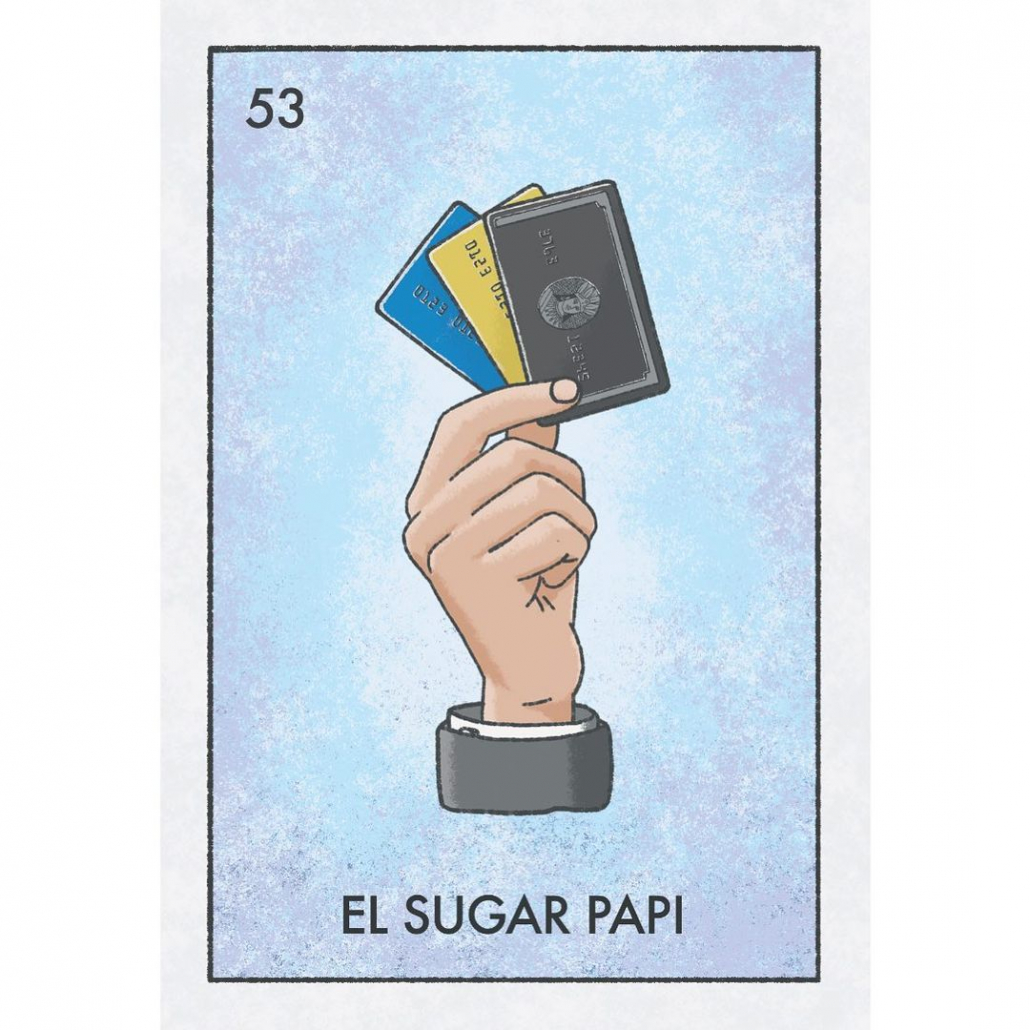 Drawing of a hand with credit cards in it with the words El Sugar Papi on the bottom.