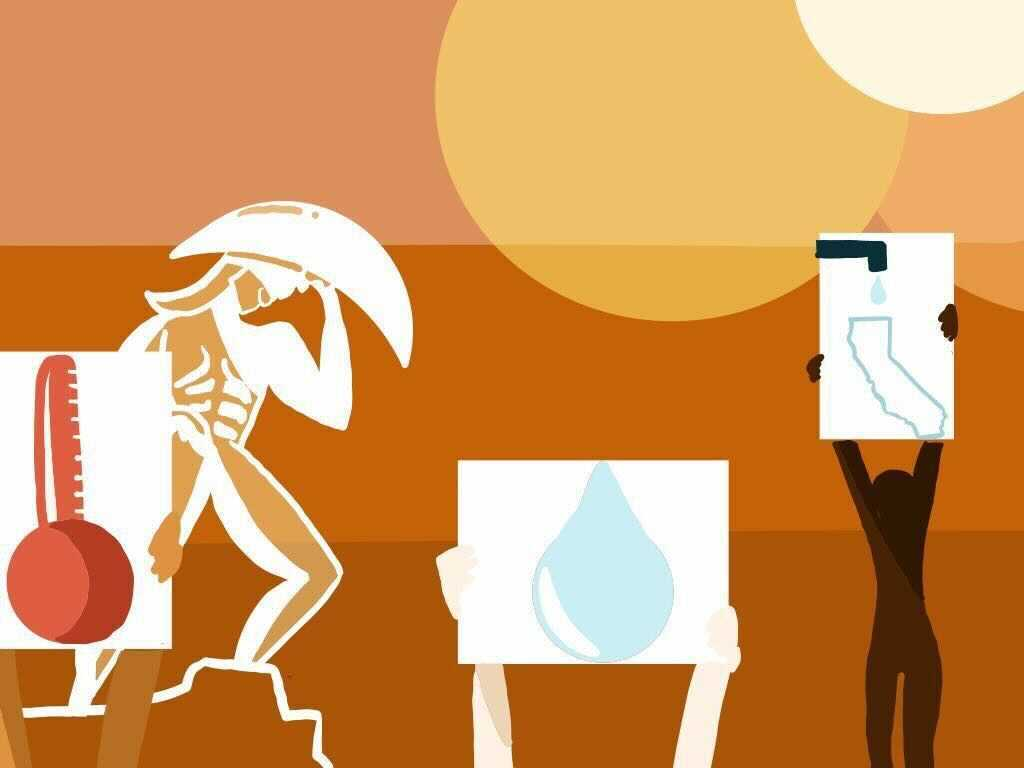 A silhouette of Tommy Trojan surrounded by silhouettes of people holding signs that depict a thermometer, a water droplet and an outline of California with a sink.