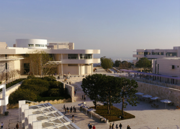 A photo of the Getty Museum from an outdoor angle.