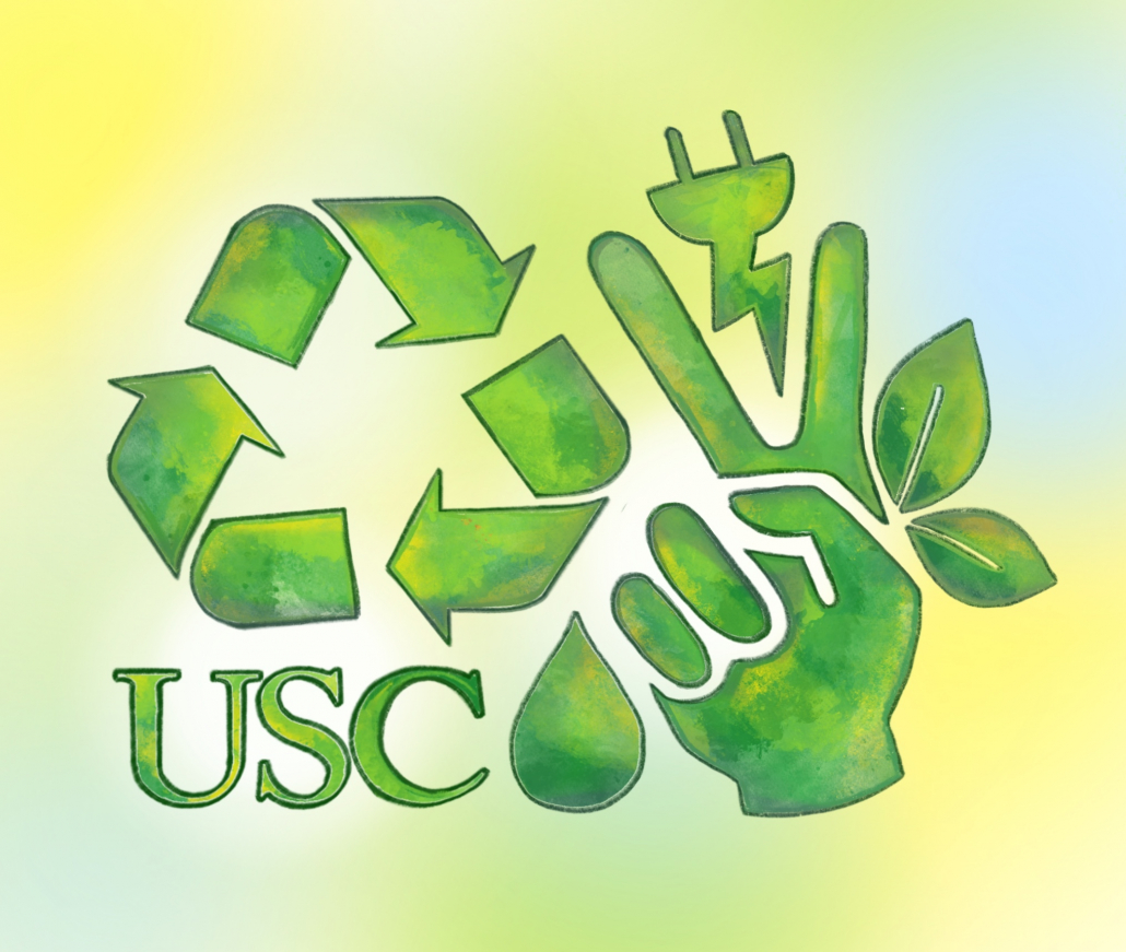 A green recycling sign, USC logo, water droplet, V for Victory hand sign, leaves and a plug on top of a yellow background.