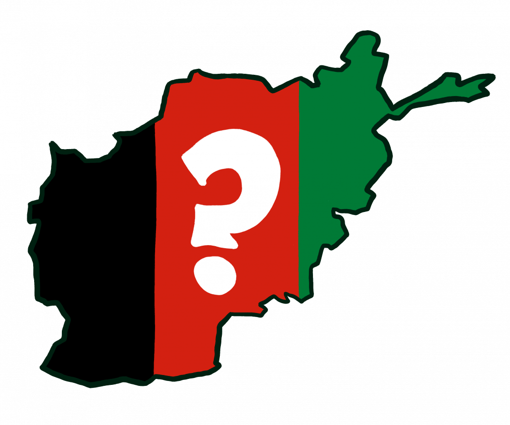 A drawing of the Afghanistan map with its flag colors as its background. A question mark is drawn in the center of the boundary.