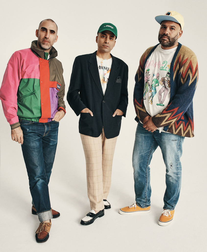 Awake NY founders wear the brand's clothing while posing for a photoshoot during their Vans collaboration.