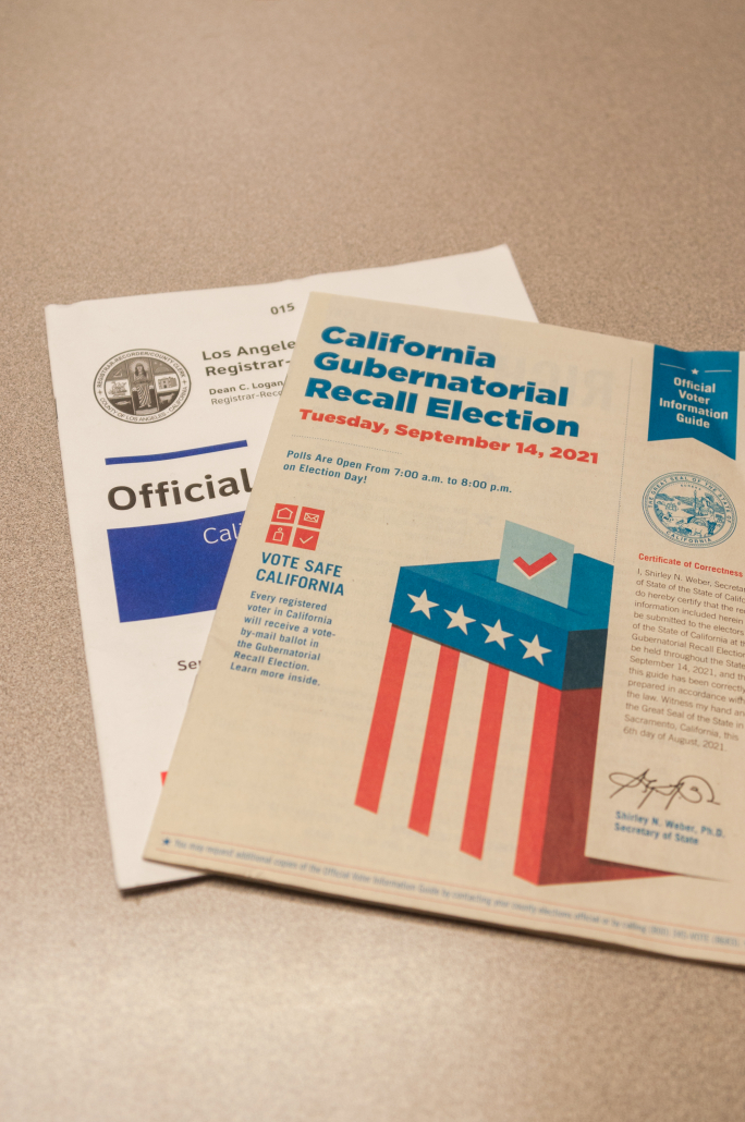 Photo of the official voter information guide and the voting instructional packet.