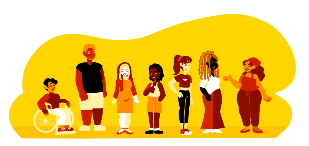 A drawing of seven different people of different shapes and sizes in front of a yellow background.