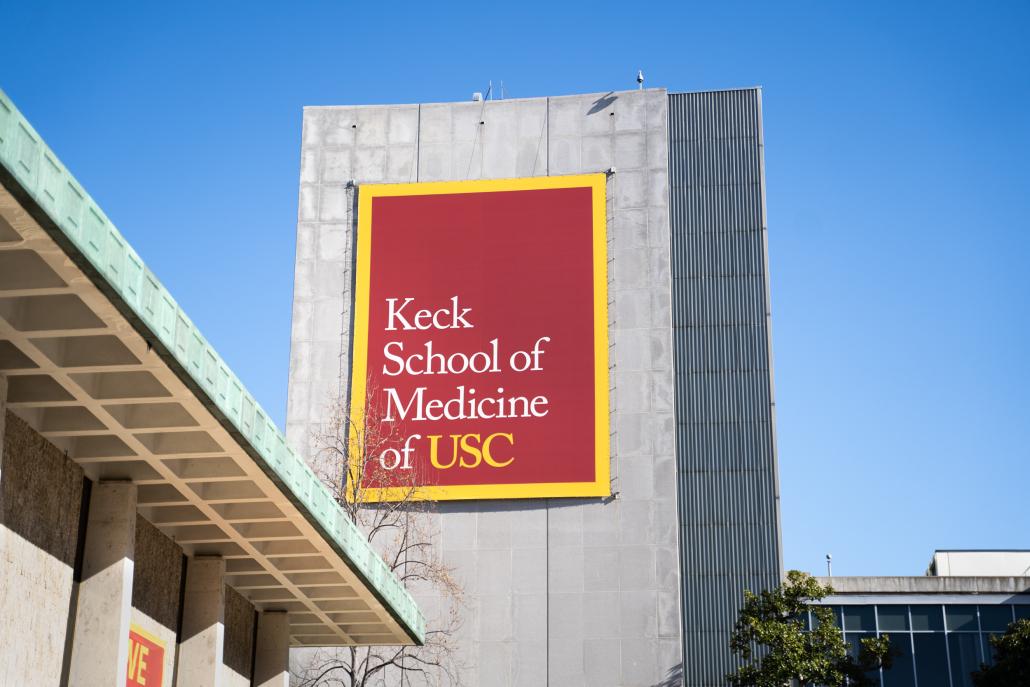 Exterior of the Keck School of Medicine building.