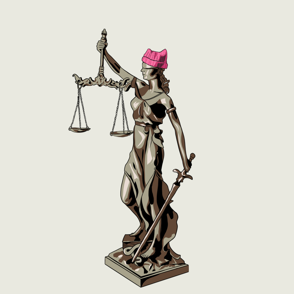 """A drawing of the """"Lady Justice"""" statue wearing a pink hat."""