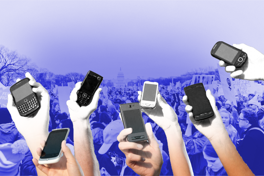A design of different hands holding up cell phones in front of a blue-tinted background of a protest.