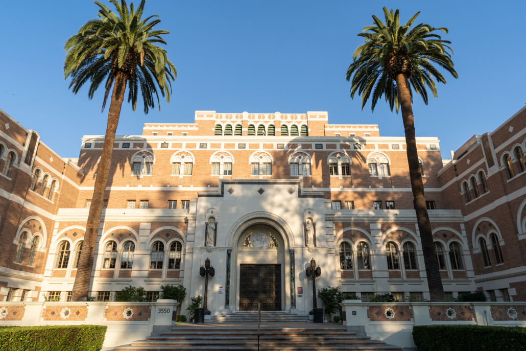 The exterior of Doheny Memorial Library.