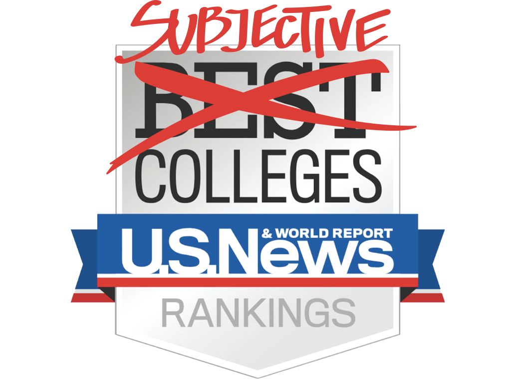 """A design of the U.S. News & World Report Best Colleges Rankings sign with """"Best"""" crossed out and """"Subjective"""" written on top in red."""