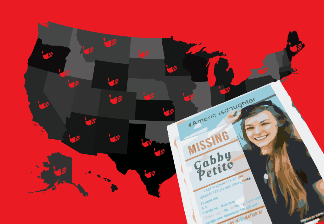 """A design of a map of the United States with red palm prints and a newspaper in the forefront that says, """"Missing: Gabby Petito."""""""