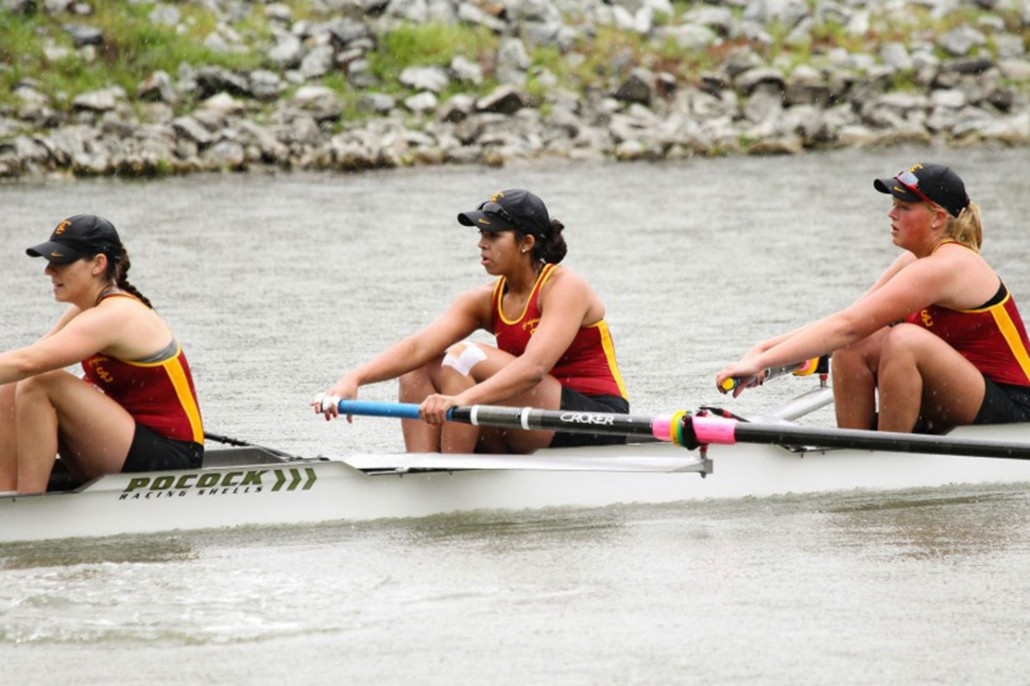 Three members of the USC Rowing team participate in the sport.
