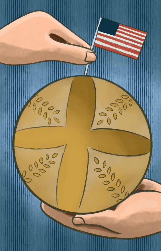 A drawing of a white hand holding a sourdough bread loaf and putting a United States flag into the top of it.